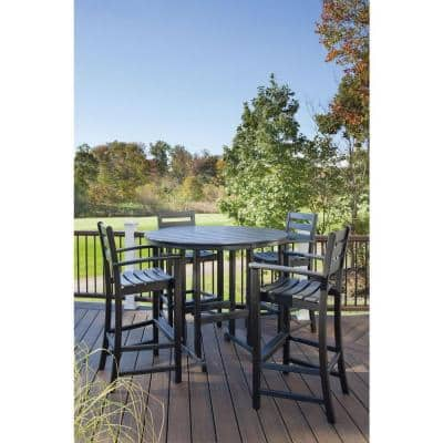 Monterey Bay Charcoal Black 48 in. Round Patio Bar Table
