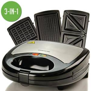 3-in-1 Electric Sandwich Maker Detachable Non-Stick Waffle and Plates, 750-Watts, LED Indicator Lights, GPI302 Black