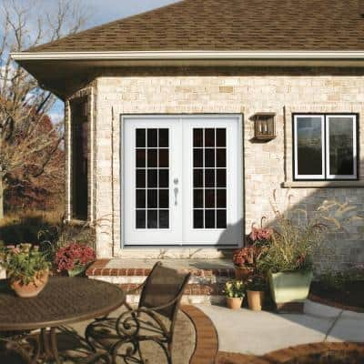 72 in. x 80 in. White Painted Steel Left-Hand Inswing 15 Lite Glass Active/Stationary Patio Door