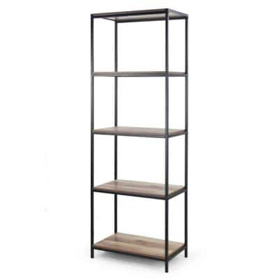 August 75 in. Light Brown Weathered Oak Particle Board 5- -Shelf Modern Etagere Bookcase with Metal Frame