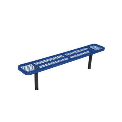 In-Ground 8 ft. Blue Diamond Commercial Park Bench without Back