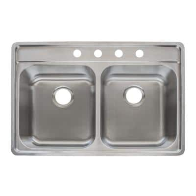 Evolution Drop-In Stainless Steel 34 in. 4-Hole Double Bowl Kitchen Sink in Satin Stainless Steel