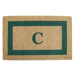 Single Picture Frame Green 30 in. x 48 in. Heavy Duty Coir Monogrammed C Door Mat