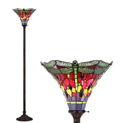 Dragonfly Tiffany-Style 71 in. Bronze/Green Torchiere Floor Lamp
