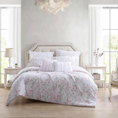 Fawna 7-Piece Pastel Red Cotton Full/Queen Bonus Comforter Set