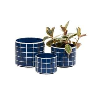 Litton Lane 12 in. Blue Dolomite Coastal Planter (3-Pack)