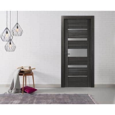 30 in. x 80 in. Kina Gray Oak Right-Hand Solid Core Composite 5-Lite Frosted Glass Single Prehung Interior Door