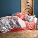 Orange Paradise Cotton Duvet Cover Set, Full Size Duvet Cover, 1-Duvet Cover, 1-Fitted Sheet and 2-Pillowcases Orange
