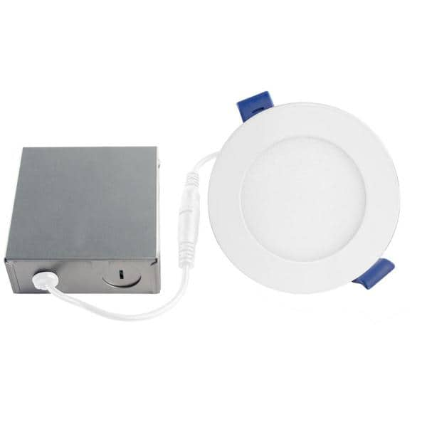 Bazz Slim Disk 4 In New Construction Remodel Matte White Integrated Led Recessed Fixture Kit Sldskb4w The Home Depot