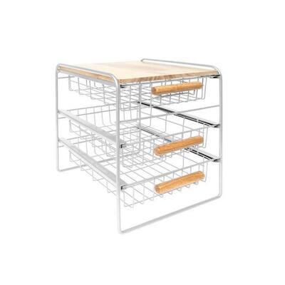 Wood Top Steel Kitchen Organizer 3 Mesh Basket Sliding Drawer, White