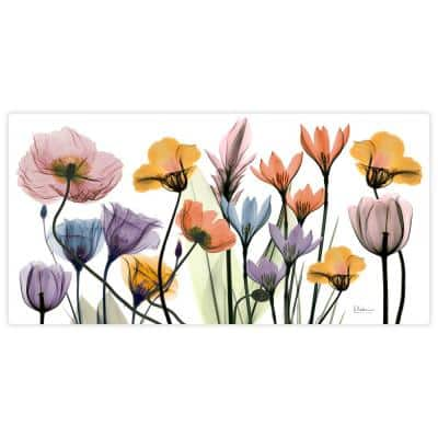 """""""Flowerscape Portrait"""" Unframed Free Floating Tempered Glass Panel Graphic Wall Art Print 24 in. x 48 in."""