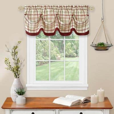 Tattersall 14 in. L Polyester Window Curtain Valance in Burgundy