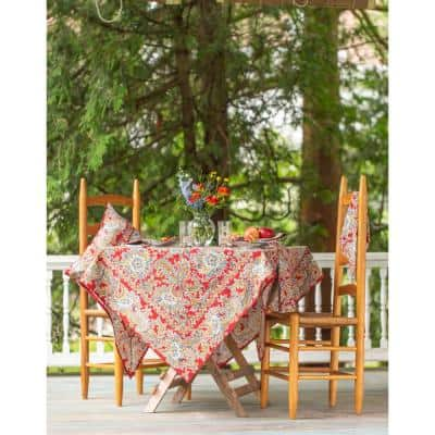 """Rhapsody Red Paisley 88"""" Round Tablecloth"""