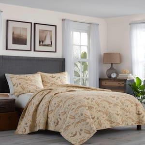 Bahama Map 3-Piece Beige Graphic Cotton Full/Queen Quilt Set