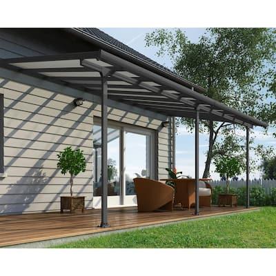 Feria 10 ft. x 20 ft. Gray/Clear Aluminum Patio Cover