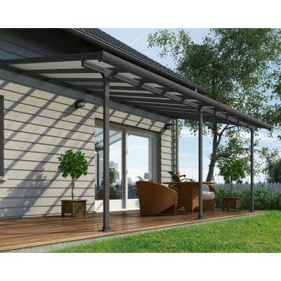 Feria 10 ft. x 20 ft. Grey Patio Cover Awning