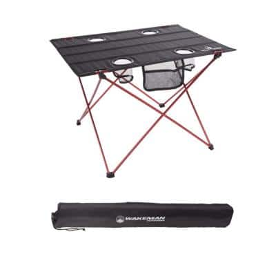 Folding Camping Table with 4 Cupholders and Carrying Bag in Black