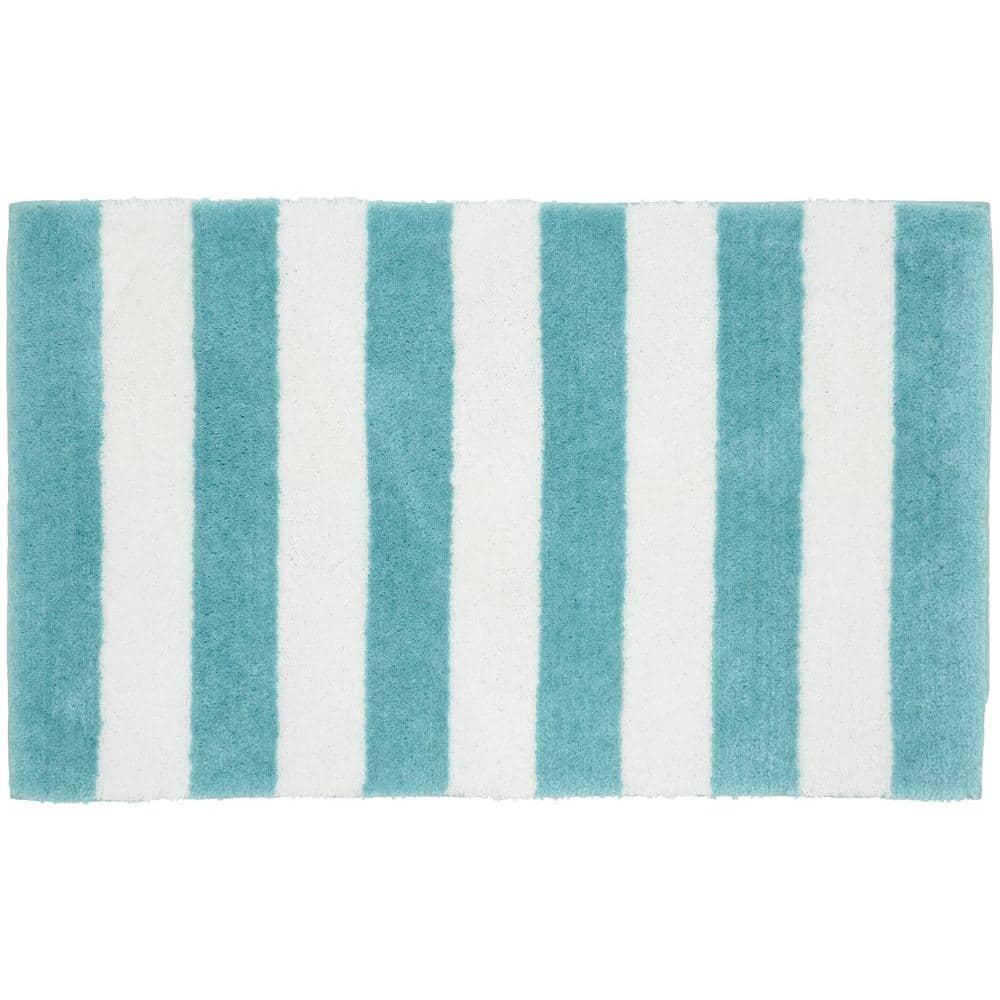 Garland Rug Beach Stripe Seafoam White, Beach Bathroom Rugs