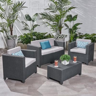 Noble House Wicker Patio Furniture, Grey Wicker Outdoor Furniture Sets