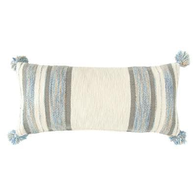 Blue, Grey and Cream Striped Lumbar 36 in. x 16 in. Throw Pillow
