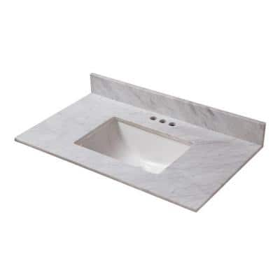 31 in. W x 19 in. D Marble Vanity Top in Carrara with White Trough Sink