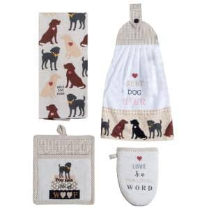 Fur Real Pets Dogs Cotton Gray Kitchen Textiles (Set of 4)