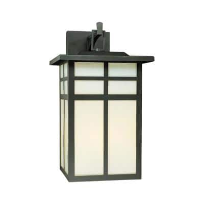 Mission 3-Light Black Outdoor Wall Lantern Sconce