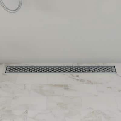 36 in. Linear Shower Drain in Brushed Stainless Steel