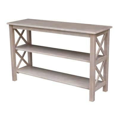 Hampton 48 in. Weathered Taupe Gray Standard Rectangle Wood Console Table with Shelves