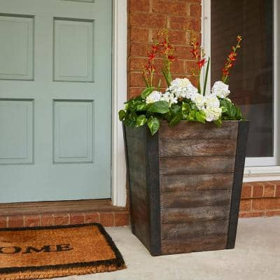Farmhill 18 in. x 22 in. Brown High-Density Resin Tall Planter