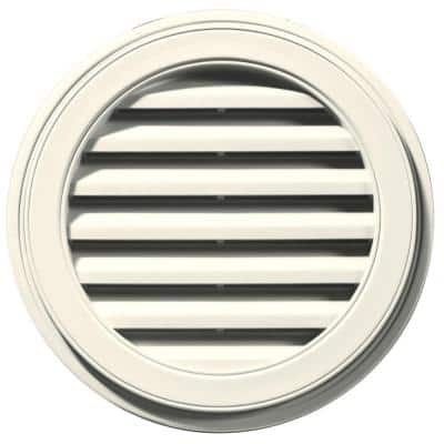 22 in. x 22 in. Round Beige/Bisque Plastic Built-in Screen Gable Louver Vent