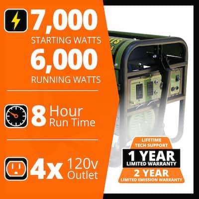 7,000/6,000-Watt Propane Gas Powered Electric Start Portable Generator