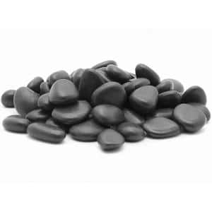2 in. to 3 in., 20 lb. Large Black Grade A Polished Pebbles