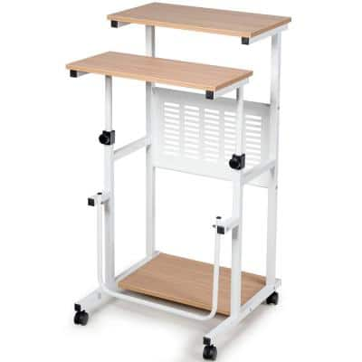 38.5 in. Oak Height Adjustable Computer Standing Desk with wheels and Footrest