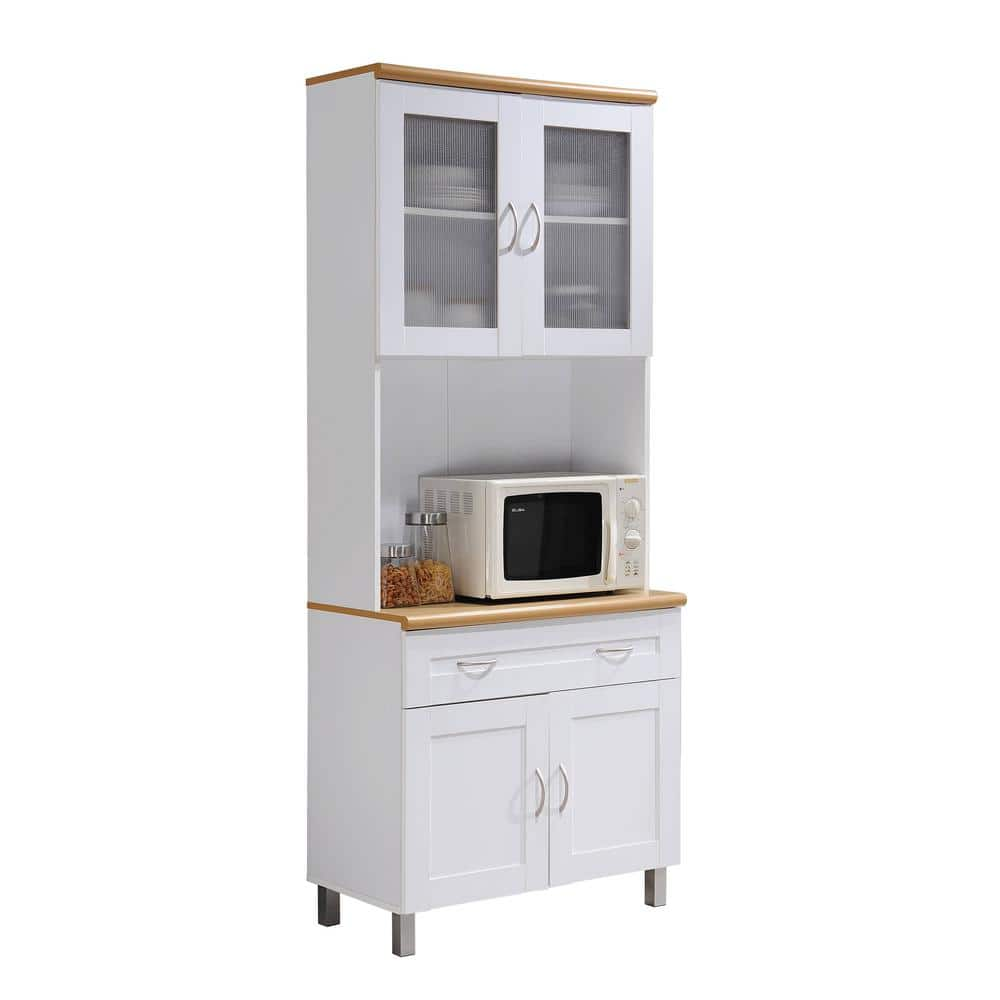 Hodedah China Cabinet White With Microwave Shelf Hik92 The Home Depot
