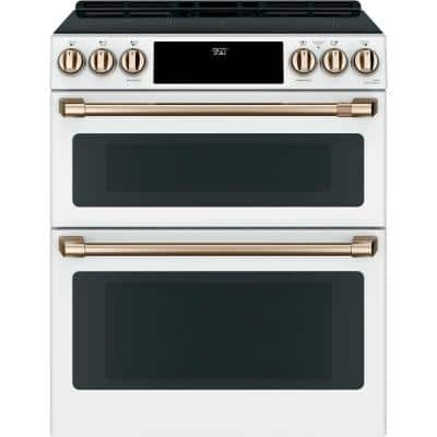 30 in. 7.0 cu. ft. Smart Slide-In Double Oven Induction Range with Convection in Matte White, Fingerprint Resistant