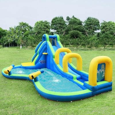 Multi-Color Inflatable Water Slide Kids Bounce House Castle Splash Pool without Blower