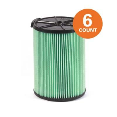 5-Layer HEPA Media Pleated Paper Filter for Most 5 Gal. and Larger Wet/Dry Shop Vacuums(6-Pack)