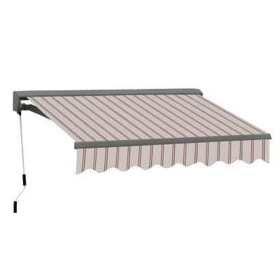 13 ft. Classic C Series Semi-Cassette Electric w Remote Retractable Patio Awning(118in. Projection) in Beige/Red Stripes