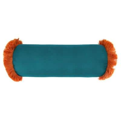 Sunbrella 7 in. x 20 in. Spectrum Peacock Bolster Outdoor Pillow with Tuscan Fringe