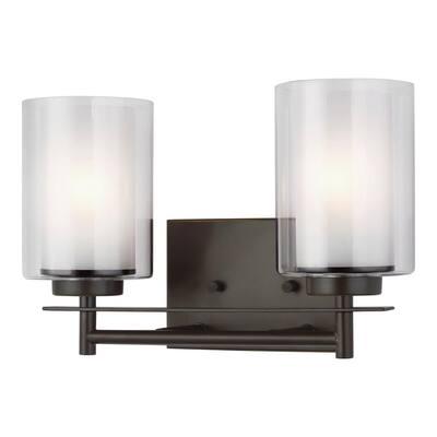 Elmwood Park 13.25 in. W 2-Light Bronze Vanity Light with LED Bulbs