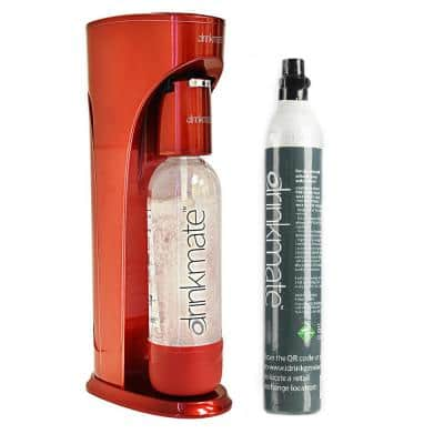 Royal Red Sparkling Water and Soda Maker Machine with 60L CO2 Cartridge and 1L Re-Usable Bottle