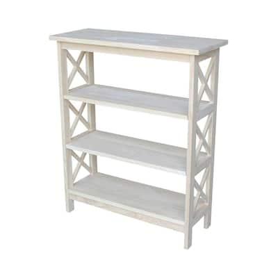 36 in. Oak Wood 3-shelf Etagere Bookcase with Adjustable Shelves