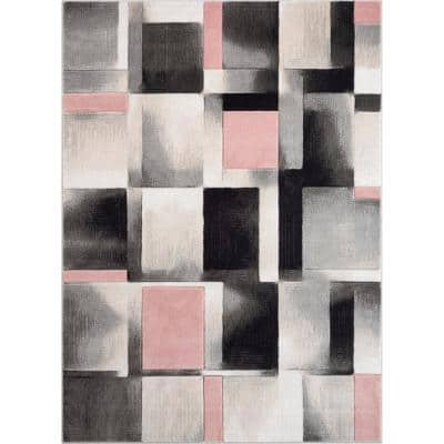 Good Vibes Louisa Blush Pink Modern Geometric Boxes 7 ft. 10 in. x 9 ft. 10 in. Area Rug