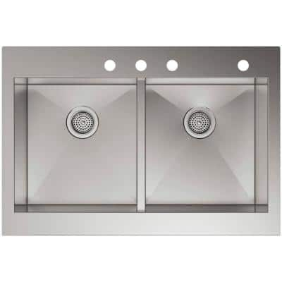 Vault Drop-In Farmhouse Apron Front Self-Trimming Stainless Steel 36 in. 4-Hole Double Bowl Kitchen Sink