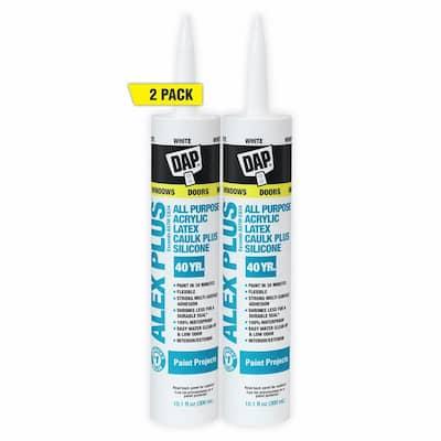 Alex Plus 10.1 oz. White Acrylic Latex Caulk Plus Silicone (2-Pack)
