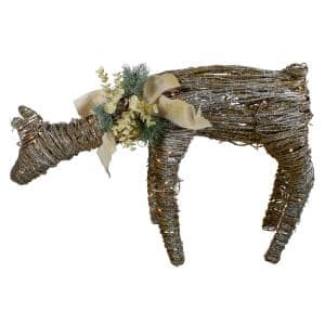 24 in. H x 38 in. W LED Drinking Rattan Deer Fawn Christmas Yard Decorations