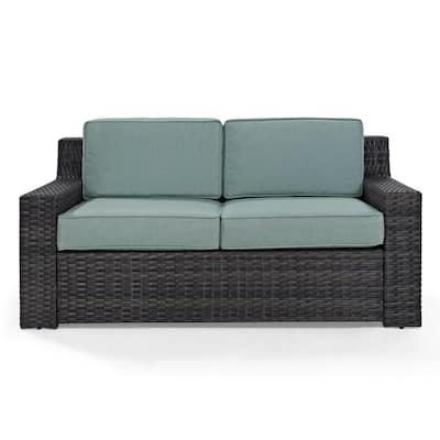Beaufort 1-Piece Wicker Outdoor Loveseat with Mist Cushions