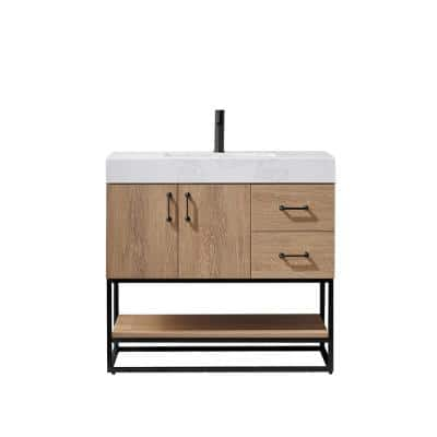 Alistair 36B in. W x 22 in. D x 33.9 in. H Vanity in Oak with White Stone Vanity Top with White Basin no Side Cabinet
