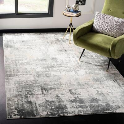 Vogue Beige/Charcoal 8 ft. x 10 ft. Gradient Distressed Area Rug